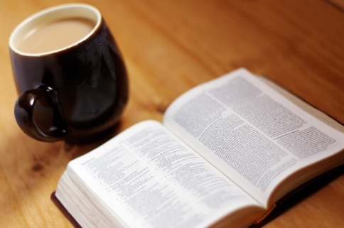 Morning coffee, with the lens and mirror of God's Word.