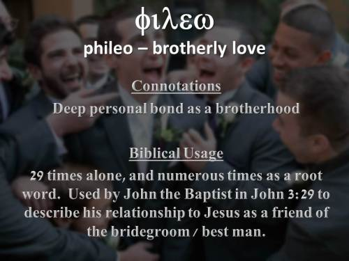 Close personal friendship - philos (noun)