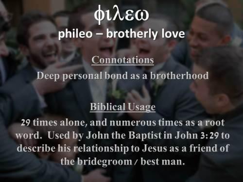 Close personal friendship - philos (noun)