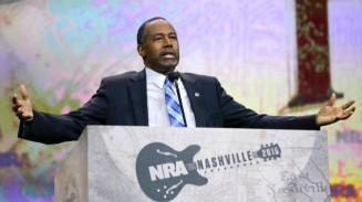 At the NRA convention, April 10, 2015, in Nashville, TN (AP Photo/Mark Humphrey)